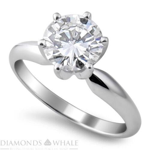 0.45 CT Enhanced Diamond Ring SI1 F Round Cut 14K White gold Engagement Ring