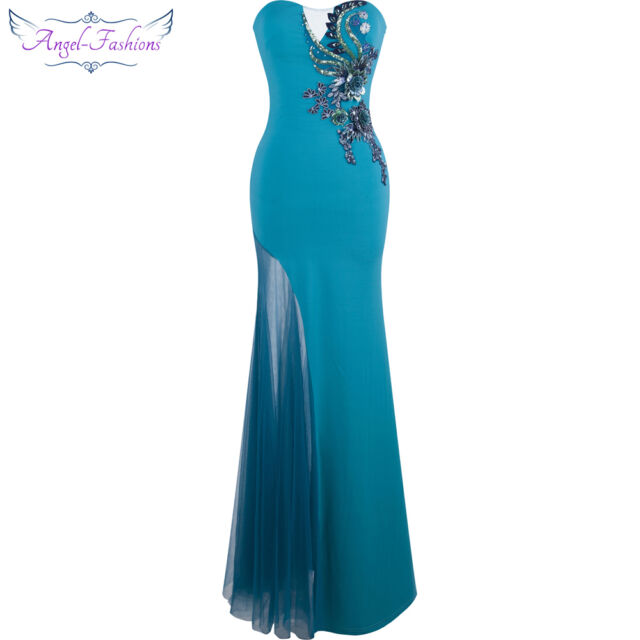Angel-fashions Strapless Appliques Hollow Out Mermaid Long Dresses Blue Green247