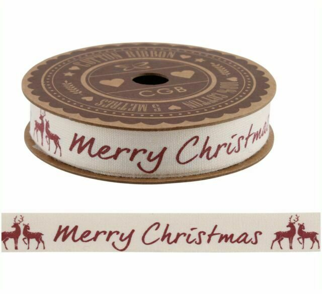 Shabby Chic Merry Christmas Red Stag 100/% Cotton Ribbon 5m Spool Craft Gift Wrap