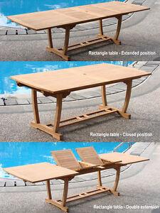 AGrade Teak Wood Mas Rectangle Double Extension Dining Table - Outdoor teak extension dining table