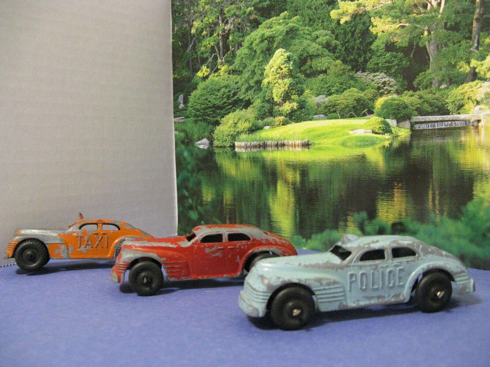 3 Pcs. It's A Beaut Structo 1930 - 1940 4  rot Blau Orange Police Taxi Sedan