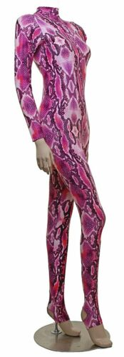 ELSA Catsuit Long Sleeves Polo Full Back Pink Snake Animal Print