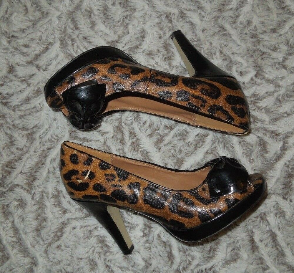 Madden Girl Open with Toe Slip On Leopard with Open Black Bow Heels Size 6.5M 746795