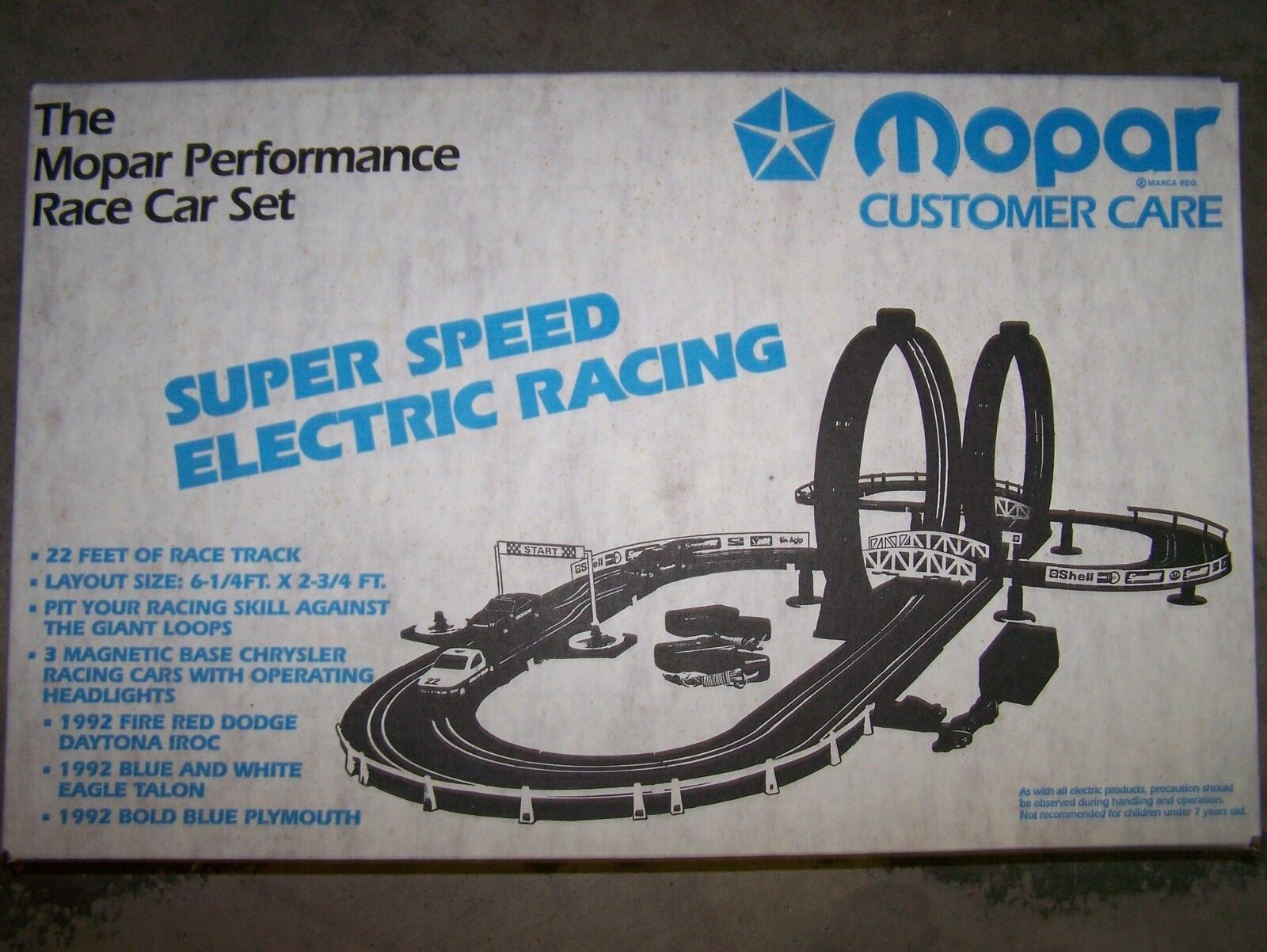 NOS MOPAR Performance Loop SHOOT SUPER SPEED Electric Racing Set Circa 1992