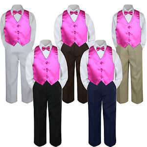 65a0b7507 4pc Boys Baby Toddler Kid Fuchsia Pink Vest Bow Tie Formal Pants Set ...