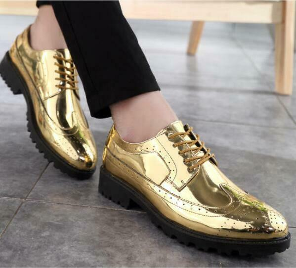 gold Silver Wedding Party shoes Mens Brogues Lace Up Low Heels Dress shoes