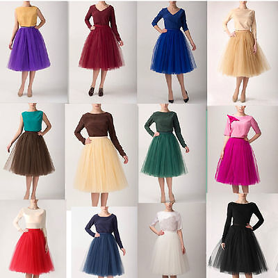New Womens 5 Layers Maxi Long Tulle Skirt Celebrity Skirts Adult Tutu Ball Gown