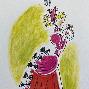 Vintage-Mid-Century-Christmas-Greeting-Card-Pretty-Lady-Pink-Victorian-Dress