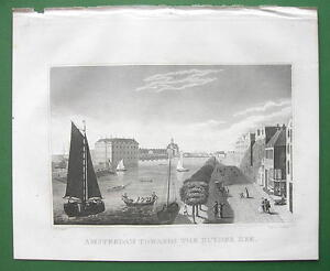 HOLLAND-Amsterdam-View-of-Zuyder-Zee-1830-Antique-Print-Engraving
