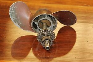 Vintage Copper Color Small Boat Propeller, Gears, Shaft, Moving Parts