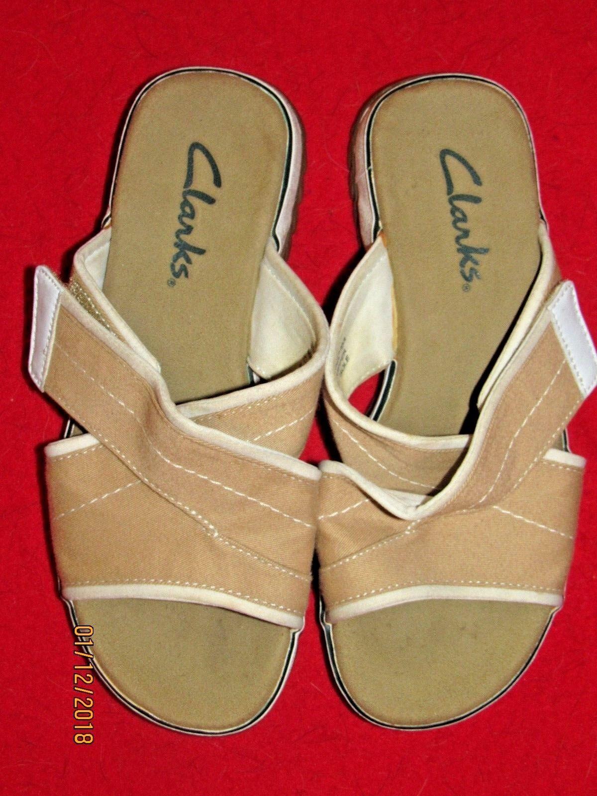Women's Clarks 6M Tan Canvas Sandals Size 6M Clarks e737e4