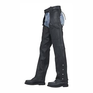 Black Multi-Pocket Naked Cowhide Leather Chaps W/ Zipout