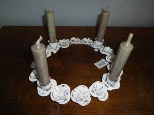 Kerzenkranz metall weiß gewischt für 4 kerzen rosen kerzenhalter