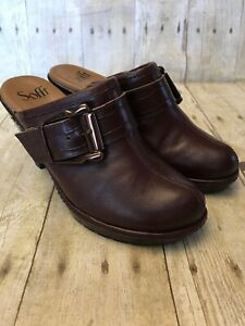 EUC-Sofft-Brown-Leather-Buckle-Mules-Size-6-5-M-Slip-On-Clogs-Shoes