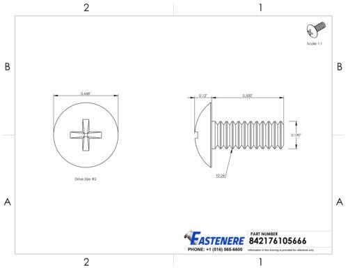 """10-24 x 1//2/"""" Phillips Truss Head Machine Screws Stainless Steel 18-8 Qty 500"""