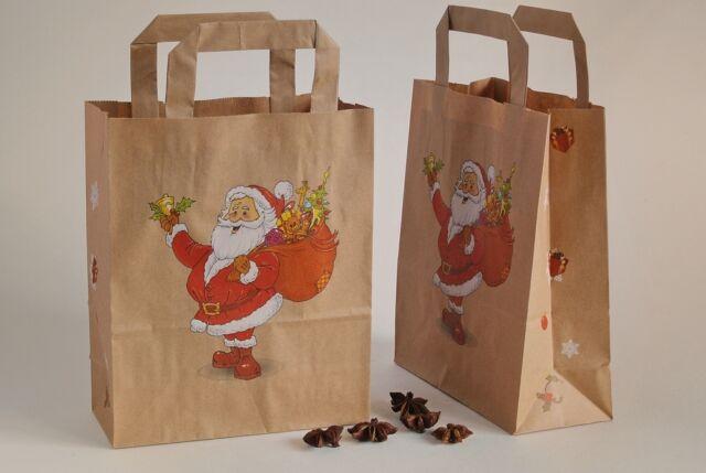 10 Nikolaus Papiertüten 18x8x22 Tragetaschen Weihnachtstüten Adventstüten Advent