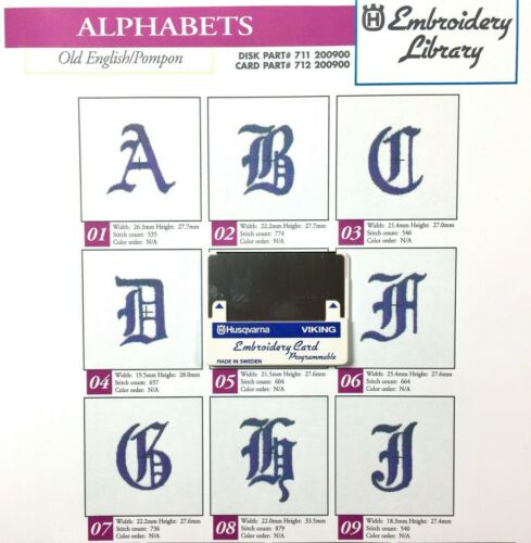 Husqvarna Viking Old English Alphabet Letters Embroidery Designs Card