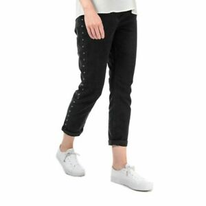 Women's Ted Baker Corly Studded High Rise Relaxed Fit Jeans in Grey