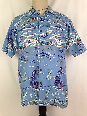 Thums Up Mens Hawaiian Shirt M Sz For Him Fish Palm Trees Beach Camp Surf Cotton