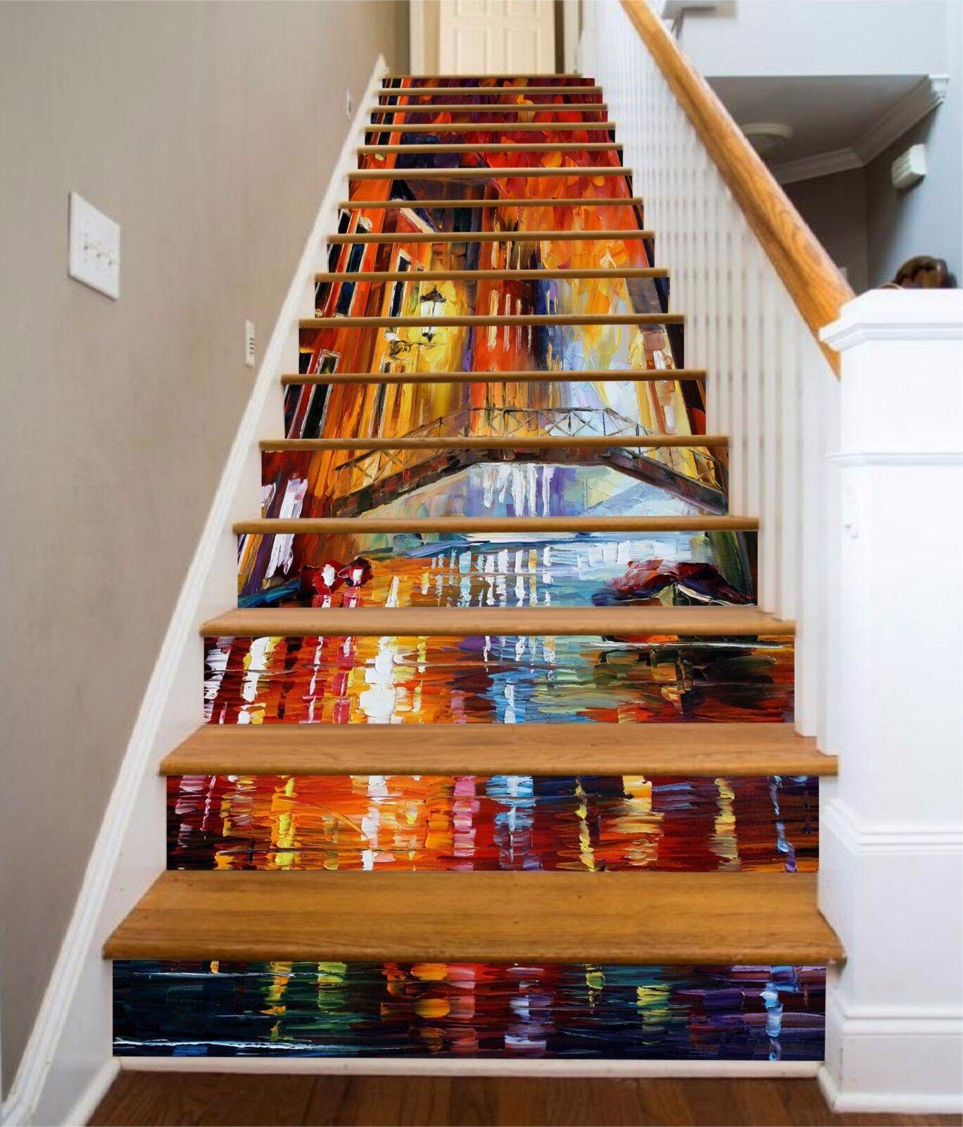 3D City night scene Stair Risers Decoration Photo Mural Vinyl Decal Wallpaper AU