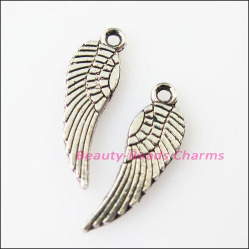 40Pcs Tibetan Silver Tone Tiny Wings Charms Pendants 5x17mm