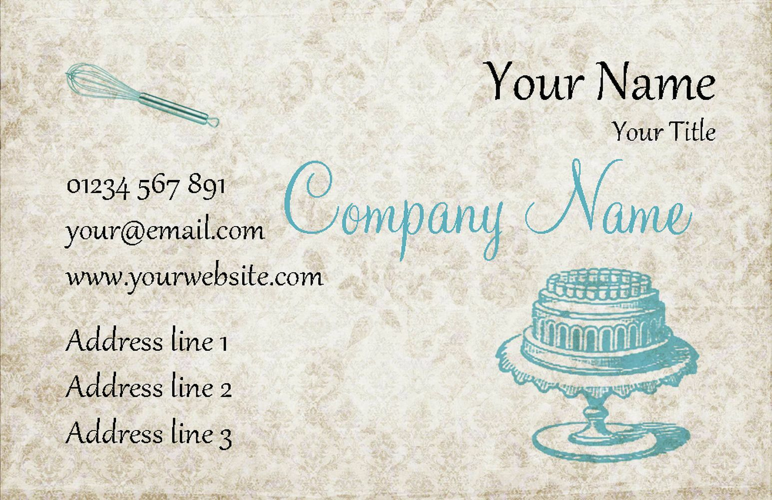 Vintage Blau Cake Personalised Business Cards