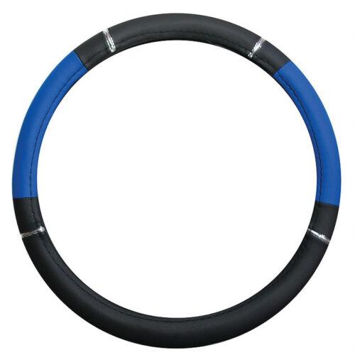 Couvre Volant  ø 37-39 cm en Simili Cuir Noir et Bleu pour Peugeot 206-303