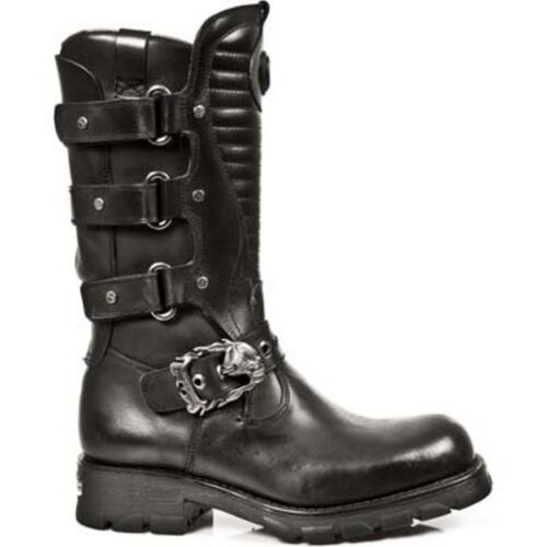 New Rock M.7604-S1 Matellic Bracelet Noir Gothique Bottes Western Métal Chaussures