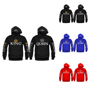 Couple-King-And-Queen-Womens-Mens-Lover-Hoodie-Jumper-Pullover-Tops-Sweatshirt