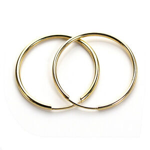 9ct-Gold-Plain-10mm-20mm-Hoop-Sleeper-Hoops-Sleepers-Earrings