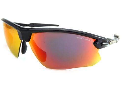 BLOC-Fox Sports Occhiali Da Sole Lucido Nero con lenti a specchio rosso XR760