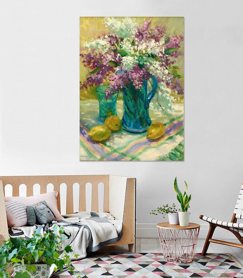 3D bluee Vase, Zitrone 653 Wandbild Fototapete Bild Tapete Familie AJSTORE DE