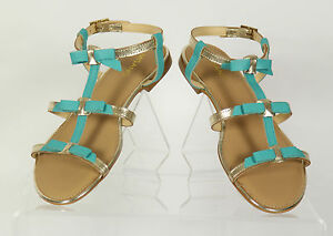 Womens-Misano-Leather-Turquoise-Platinum-Beige-White-Flat-Strappy-Sandals