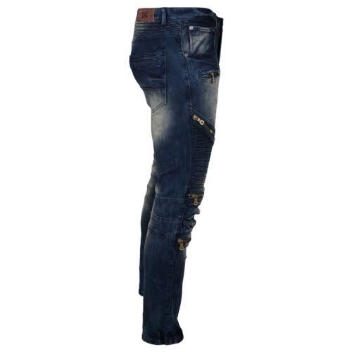 8IGHTH DSTRKT Men/'s Zip Panel Moto Jeans