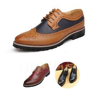 Hombre-Zapatos-Vestir-Formal-Cordones-Causal-Acento-Irlandes-Cuero-Oxford-Oficin