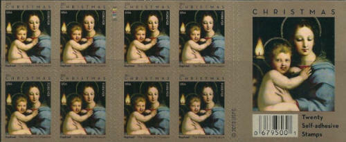 2011 44c Raphael Madonna & Child, Christmas, Booklet of