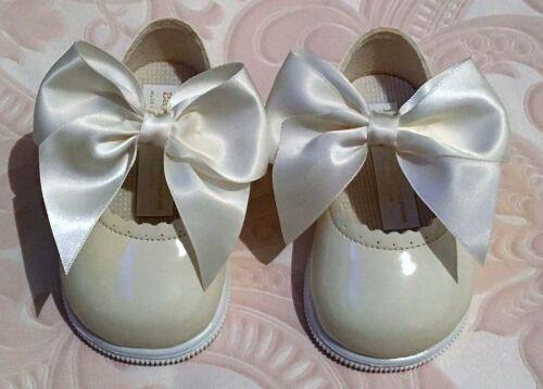 Girls toddler espagnol style nœud ruban brevet walker dur semelle chaussures taille uk 2-6