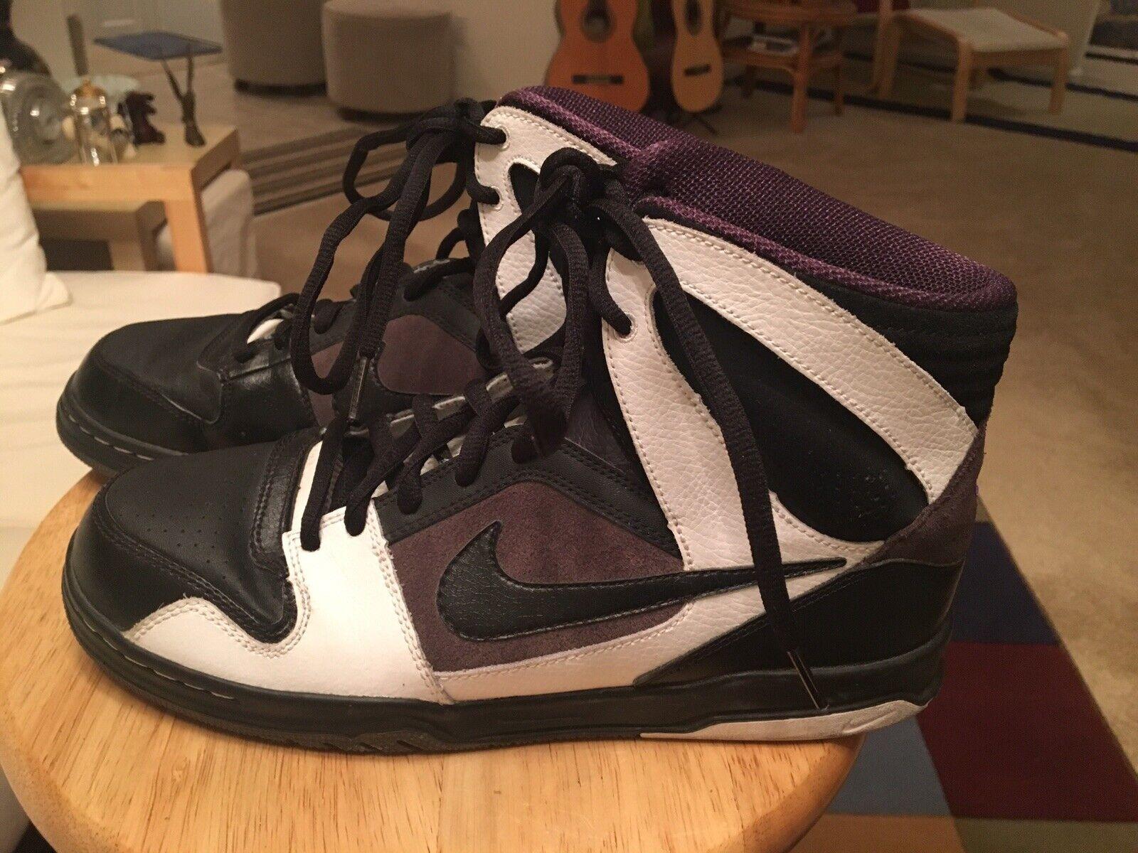 Nike Oncore 6.0 Black/White/Purple Men's US9 Leather Hi-Top Sneakers Shoes