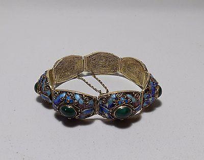 Chinese Silver-Gilt Filigree Enamel Butterfly Green Malachite Stone Bracelet