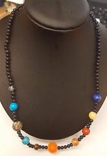 """HAND-CRAFTED 18"""" SOLAR SYSTEM GEMSTONE NECKLACE - SUN & PLANETS"""