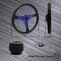 For 1990-2005 Mazda Miata 86-91 Rx7 14 Blue Pvc Steering Wheel+hub Adapter