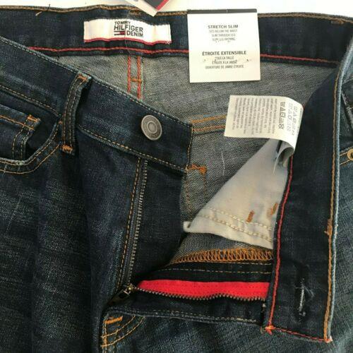 NWT Tommy Hilfiger Men/'s Dark Wash Stretch Slim Leg Denim Pants Jeans All Sizes