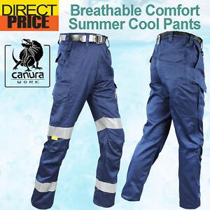 Canura-Work-Pants-Cargo-Narrow-Fit-Cool-Lightweight-Cotton-Drill-3M-Reflective