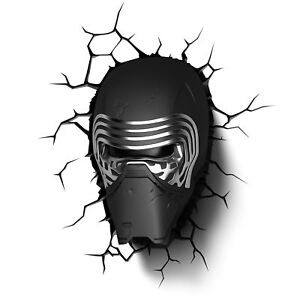 Star-Wars-Kylo-Ren-3D-LED-Mural-Veilleuse-Fissure-Stickers-Neuf