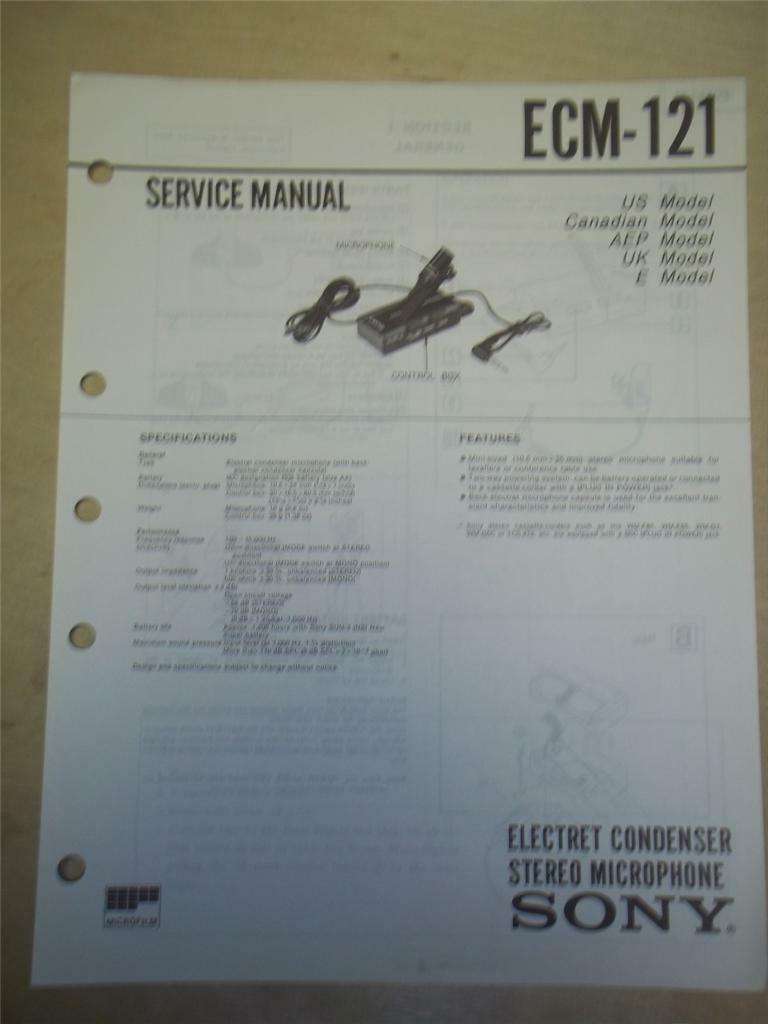 repair manual sony ecm 121 electret condenser stereo microphone