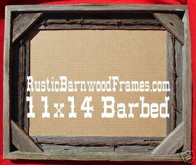 11x14 barbed wire rustic barnwood barn wood photo frame