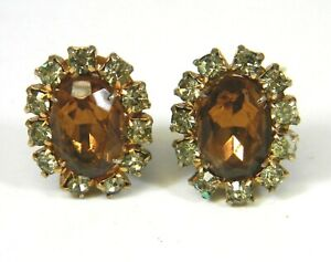 Vintage-Topaz-Clear-Ice-Rhinestone-Clip-On-Earrings-Unsigned-Estate