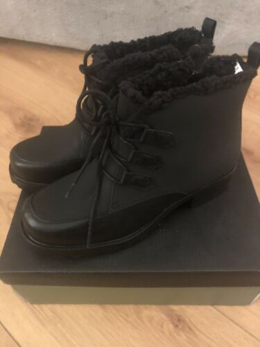 Trotters New Iii donna foderato in Brand pile 5m Ankle Boot neve Uk black Fiocchi di 6 5dYYwqX