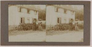 Francia Donna Modalità Campagna Foto Stereo Amateur Th2n4 Vintage Citrato c1900