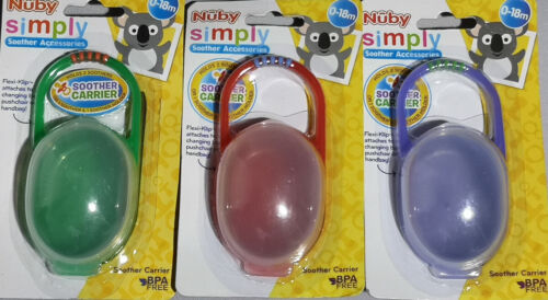 3 x Nuby Soother Carrier with Flexi Clip Holds 2 Soothers 0-18 Months BPA Free